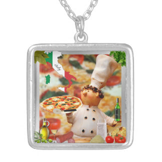 italian pizza man silver-plated necklace