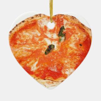Italian Pizza Margherita Ceramic Heart Decoration