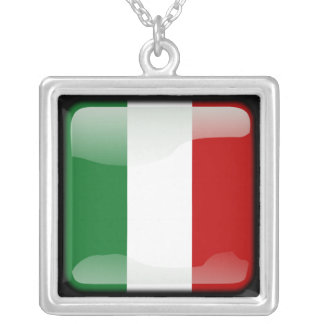 Italian polished square pendant necklace