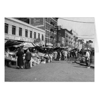 Italian Pushcart Market, Bronx: 1940 Card