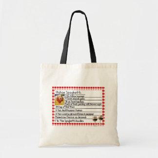 "Italian Recipe Card Gifts ""Spaghetti"" Budget Tote Bag"