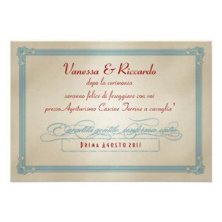 Italian Red White Blue DIY Wedding RSVP Announcements