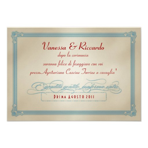Italian Red White & Blue DIY Wedding RSVP Announcements