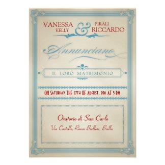 Italian Red White Blue Wedding Invitation