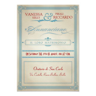Italian Red White & Blue Wedding Invitation