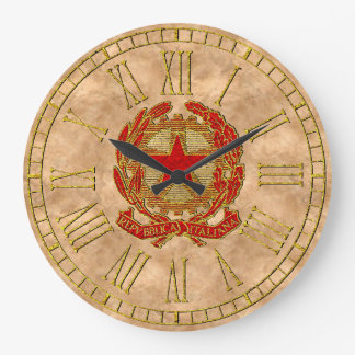 Italian Republic Red Gold Copper Wall Clock