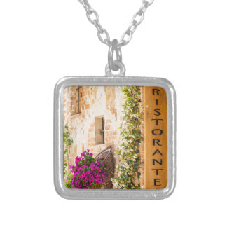 Italian Restaurant Square Pendant Necklace