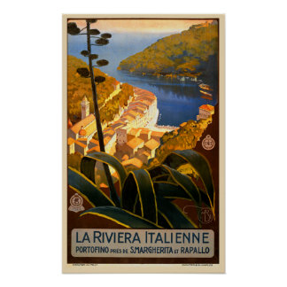 Italian Riviera Europe Italy Travel Poster