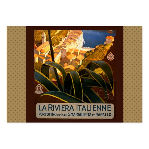 Italian Riviera Europe Italy Travel Poster Business Card Template