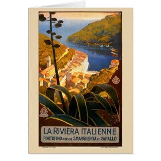 Italian Riviera Europe Italy Travel Poster Card