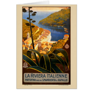 Italian Riviera Europe Italy Travel Poster Greeting Card