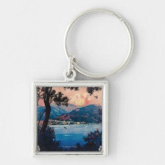 Italian Riviera Travel Poster Keychains