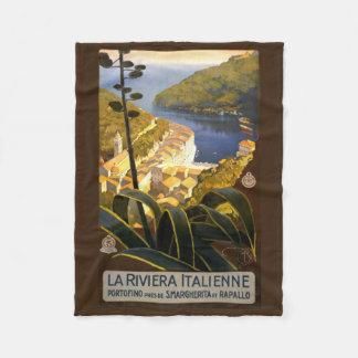 Italian Riviera vintage travel fleece blanket