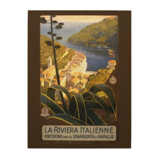 Italian Riviera vintage travel wood canvas