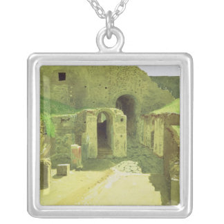 Italian Ruins, 1876 Silver Plated Necklace