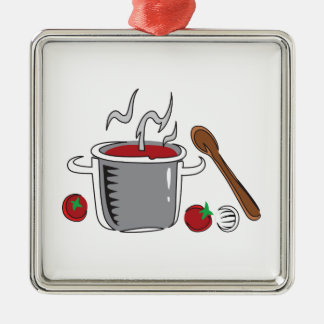 ITALIAN SAUCE COOKING Silver-Colored SQUARE DECORATION
