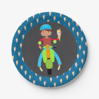 Italian scooter boy Birthday Party Paper Plate