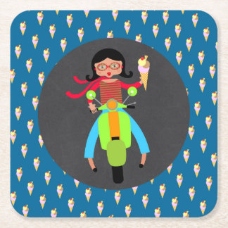 Italian scooter girl Birthday Party Square Paper Coaster