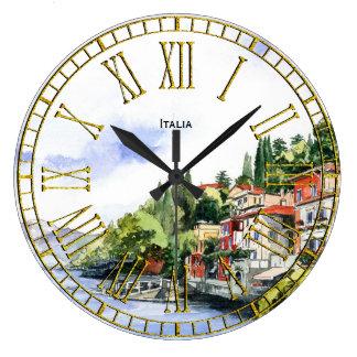 Italian Seacoast Watercolor Your Text Large Clock