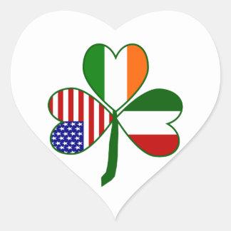 Italian Shamrock Heart Sticker