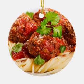Italian Spaghetti & Meatballs Round Ceramic Decoration