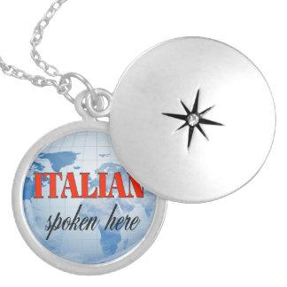 Italian spoken here cloudy earth round locket necklace
