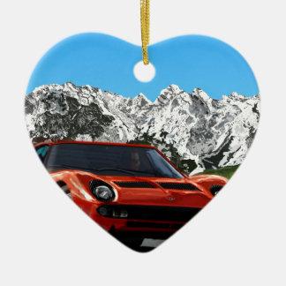 Italian sports car mountain drive ceramic heart decoration