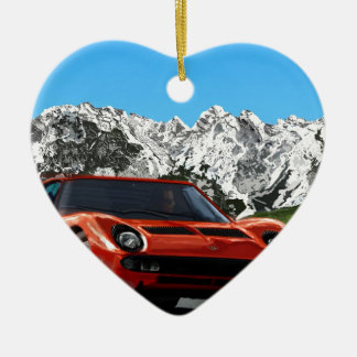 Italian sports car mountain drive christmas ornament