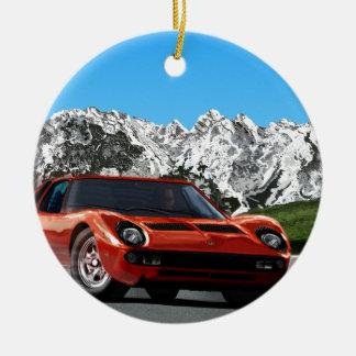 Italian sports car mountain drive round ceramic decoration