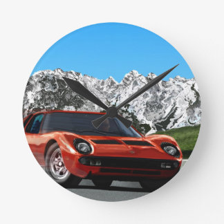 Italian sports car mountain drive round clock
