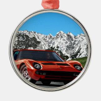 Italian sports car mountain drive Silver-Colored round decoration