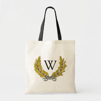 Italian Style Wreath and Monogram Tote Bag