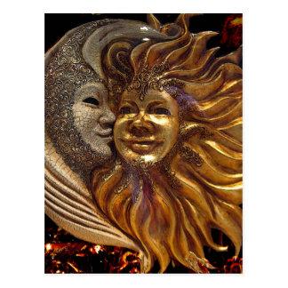 Italian Sun Moon Carnaval Masks Post Card