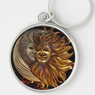 Italian Sun & Moon Carnaval Masks Silver-Colored Round Key Ring