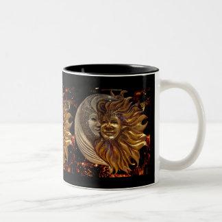 Italian Sun & Moon Carnaval Masks Two-Tone Coffee Mug