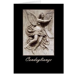 Italian Sympathy - Condoglianze - Angel with Harp Greeting Card