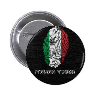 Italian touch fingerprint flag 6 cm round badge