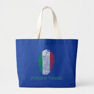 Italian touch fingerprint flag large tote bag