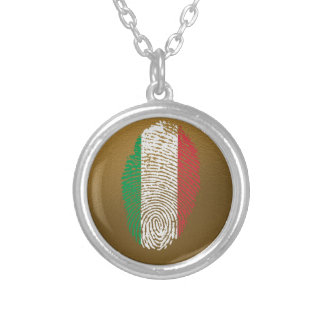 Italian touch fingerprint flag silver plated necklace