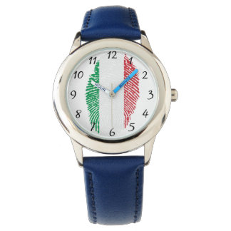 Italian touch fingerprint flag watch