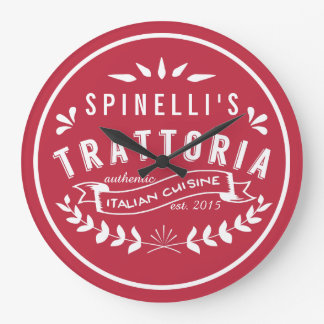 Italian Trattoria Your Name Restaurant Logo Large Clock