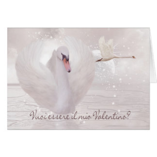 Italian Valentine s Day Card - Swan s In Pink