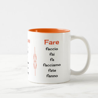 Italian verbs learning teaching Two-Tone coffee mug