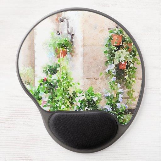 Italian Watercolor Flower Market Gel Mouse Pad