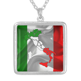 Italian waving flag silver plated necklace
