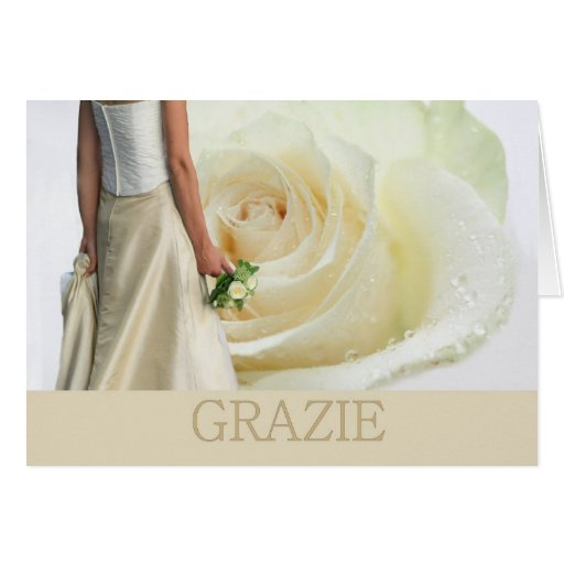 Italian Wedding Thank You White rose and bride Cards