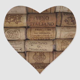 Italian Wine Cork Collection Heart Shaped Sticker