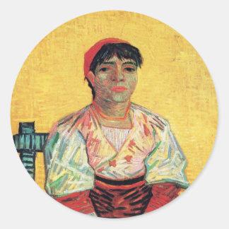 Italian Woman portrait painting  Vincent van Gogh Round Sticker