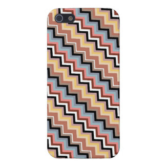 Italian Zig Zag Diagonal Brown Blue Savvy Case For iPhone 5/5S