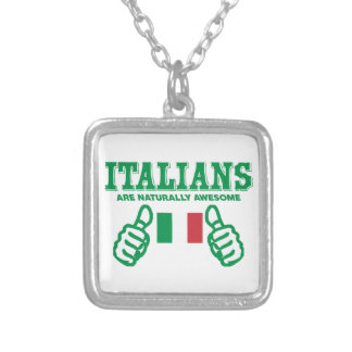 Italians are awesome silver plated necklace